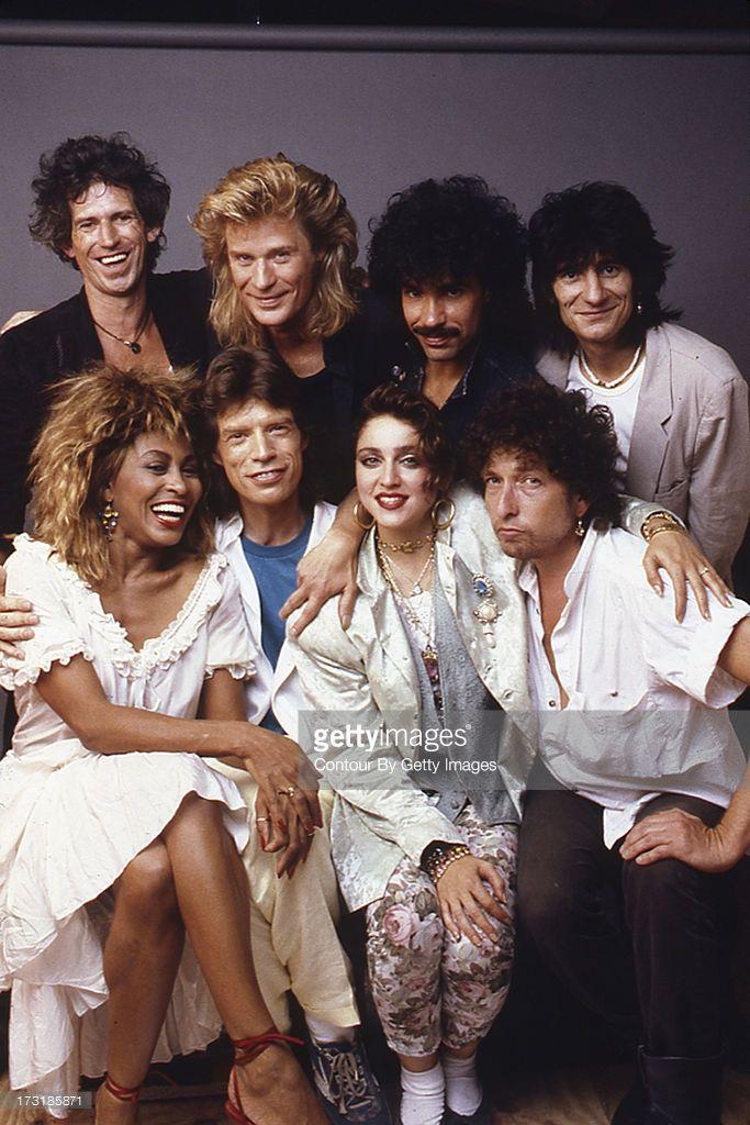 Keith Richards, Daryl Hall, John Oates, Ronnie Wood, Tina Turner, Mick Jagger, Madonna and Bob Dylan, backstage at Live Aid, 1985
