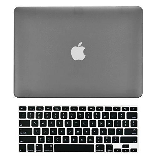 """TOP CASE - 2 in 1 Bundle Deal Air 13-Inch Rubberized Hard Case Cover and Matching Color Keyboard Cover for Macbook Air 13"""" (A1369 and A1466) with TopCase Mouse Pad - Gray"""