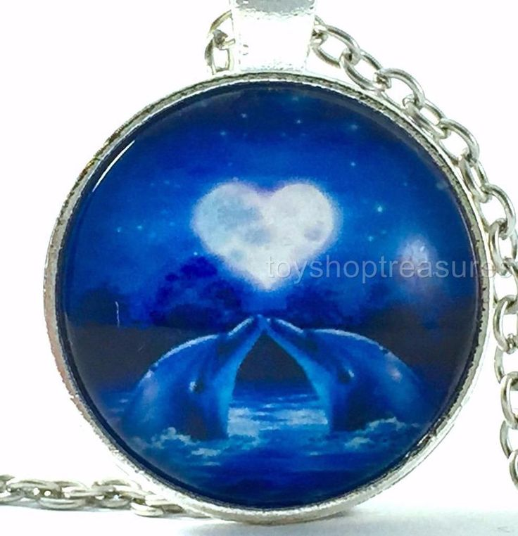New Dolphin Necklace Blue Dolphins Love Heart Pendant - Silver bf #Handmade #Pendant