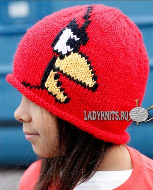 Вязаная спицами детская шапка Angry Birds («Злые птички»)
