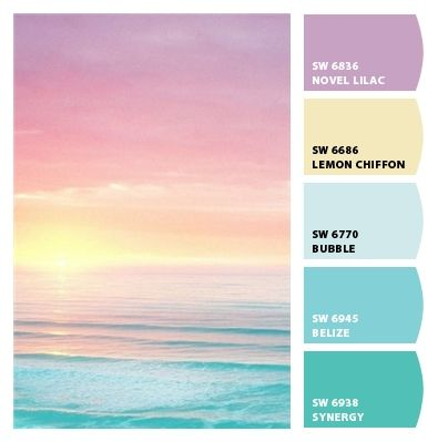 pastel sunset color palette - the blue and yellow are my colors for my bedroom                                                                                                                                                                                 More