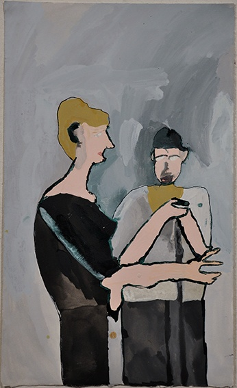 Paul Hodges, Not titled (two figures) 2009 ink and gouache on paper 40.5 x 60.5cm © Artist Represented by Arts Project Australia