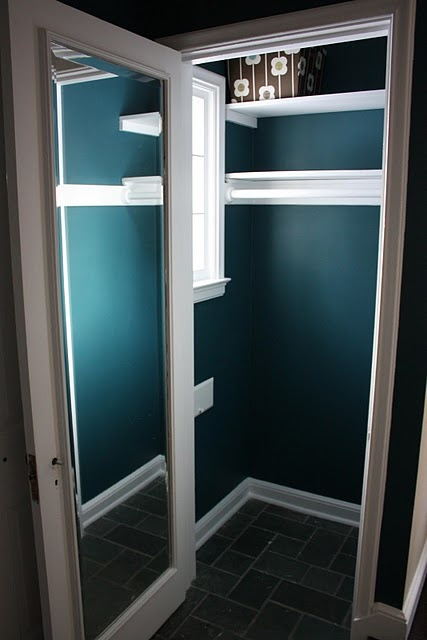 paint the coat closet and put a mirror on the inside. Like the mirror!
