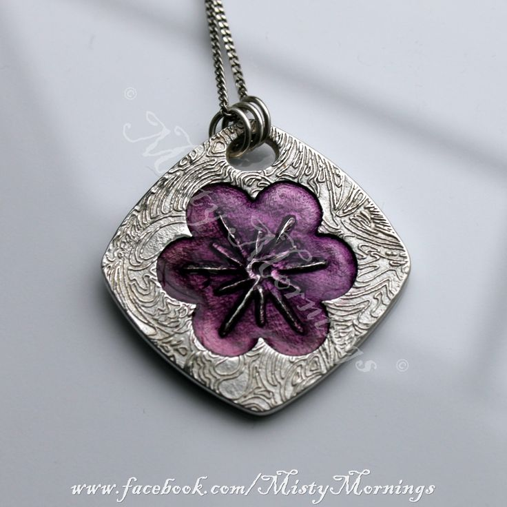 Solid silver pendant with purple enamelled flower www.facebook.com/MistyMornings