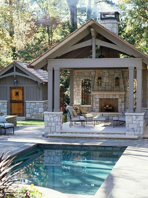 Outdoor Living Space Features Small Pool, Pool House, Covered Patio With  Fireplace, And Interesting Architectural Features.
