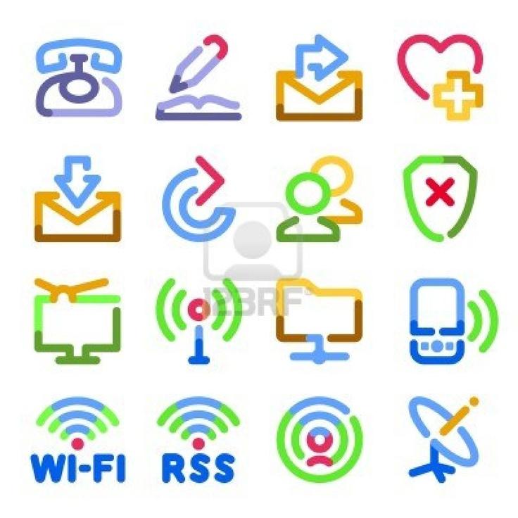 Communication icons. Color contour series. Stock Photo