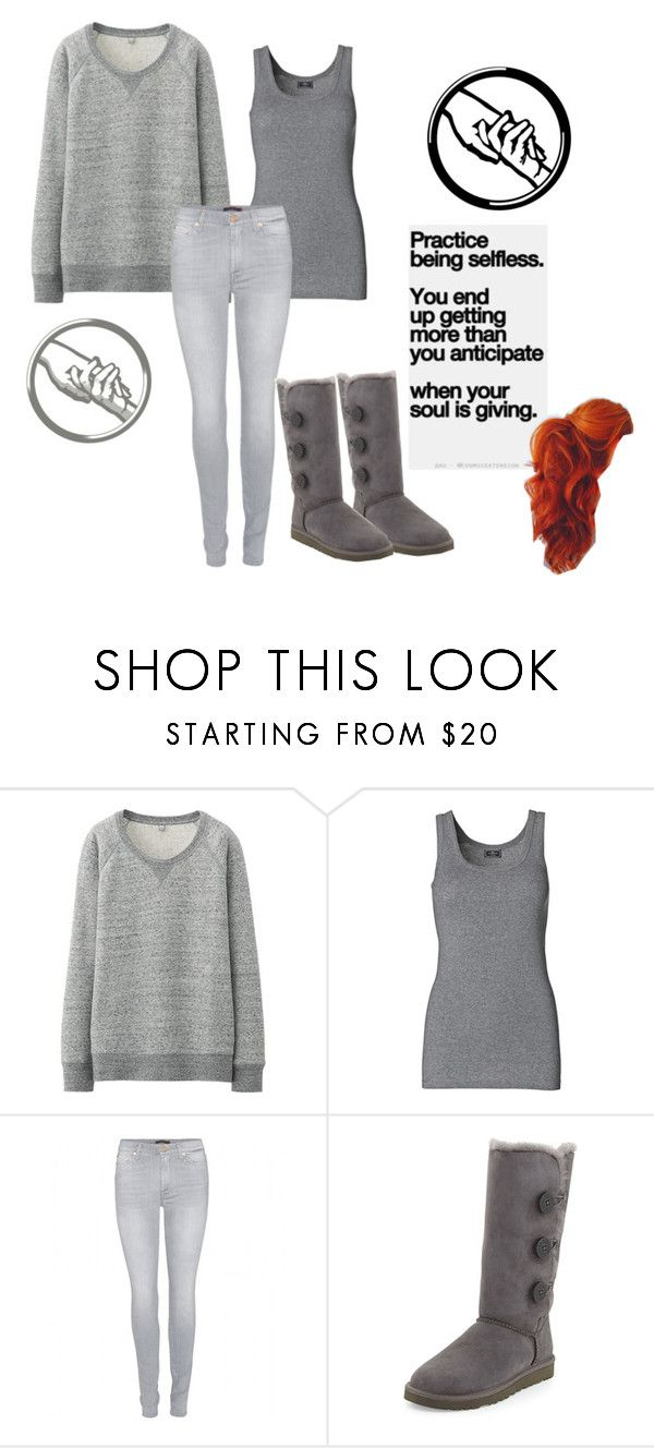 """""""Me as a divergent character tag"""" by amartin18 ❤ liked on Polyvore featuring Uniqlo, By Malene Birger, 7 For All Mankind and UGG Australia"""