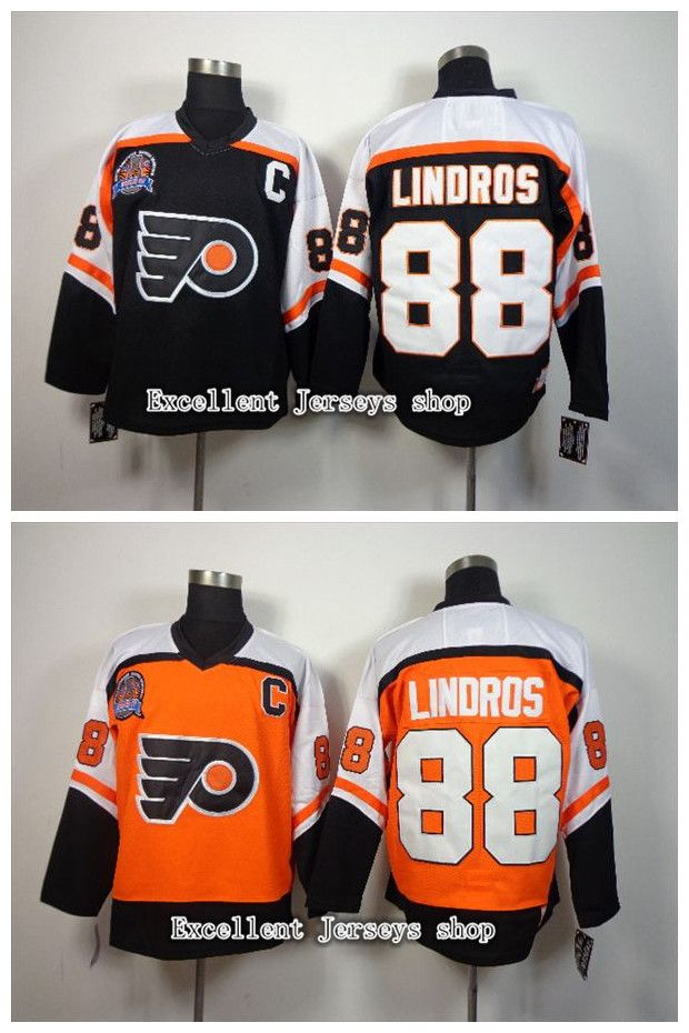 ... Eric Lindros CCM Philadelphia Flyers Hockey Jersey Black Orange  Throwback Vintage 88 ... 6ff70bf61