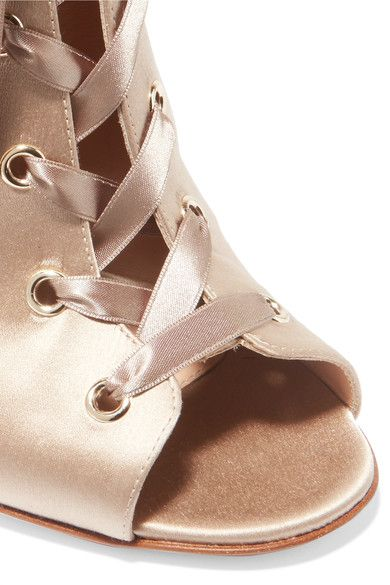 Gianvito Rossi - Lace-up Satin Boots - Neutral - IT39.5