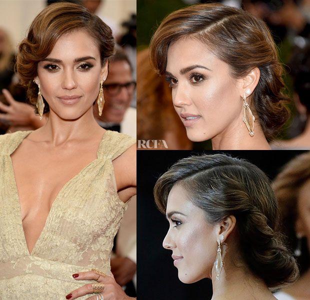 Best 25 jessica alba updo ideas on pinterest jessica alba hair get the look jessica albas 50s met gala updo pmusecretfo Image collections