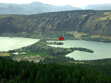 Oyama with Kalamalka on one side and Woods lake on the other