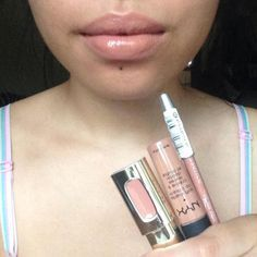 Favorite Lip Combo- Essence lipliner in in the nude, Nyx soft matte lip cream in london, Loreal Paris lipgloss in nude ballet