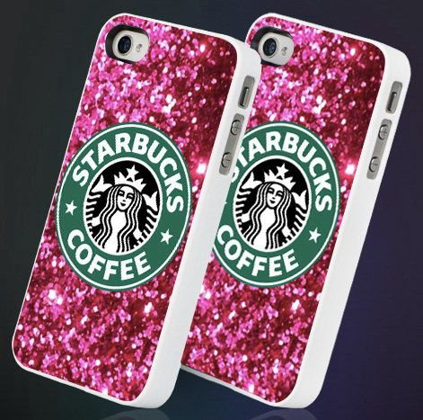 Sparkle Pink Glitter Starbucks - iPhone 4 iPhone 5/5s/5c - Samsung Galaxy S3/s4 - Hard Plastic or Rubber Case