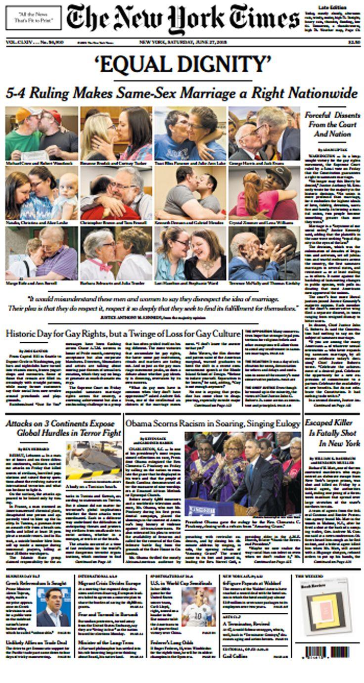 Portada del New York Times tras la aprobación del matrimonio homosexual en Estados Unidos
