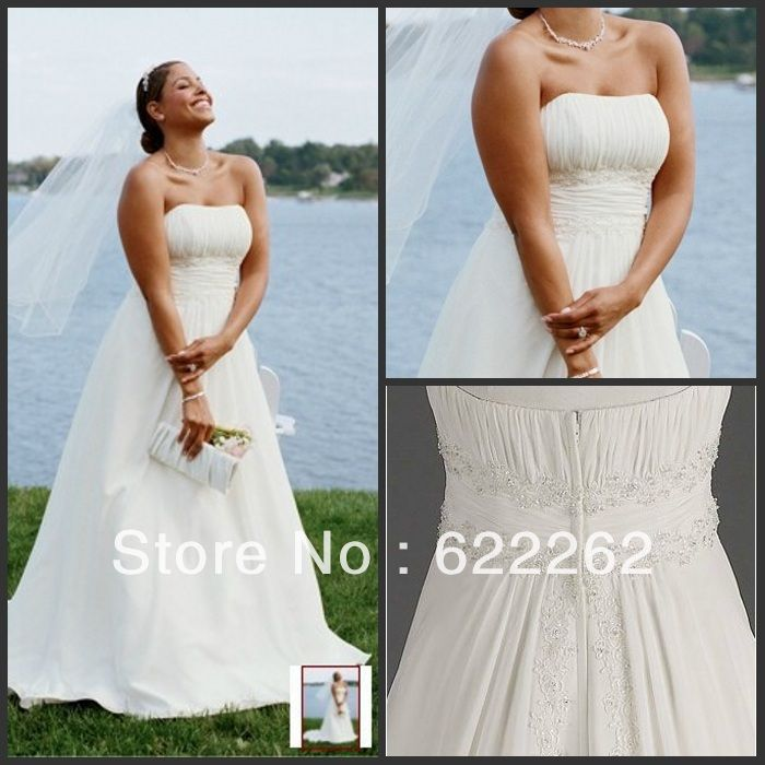 Perfect Cheap bridal gown Buy Quality gowns bridal directly from China wedding dress a line Suppliers New Chiffon A line with Beaded Lace on Empire Style plus