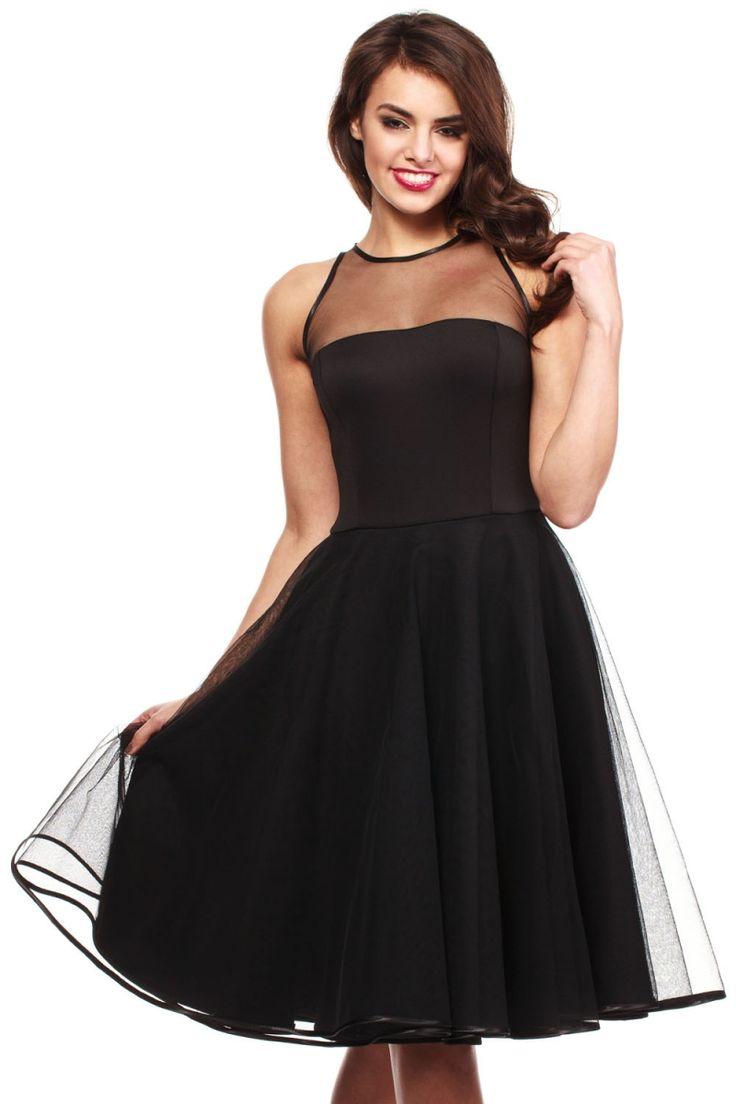 Czarna rozkloszowana sukienka tiulowa z siateczką fashion4u.pl