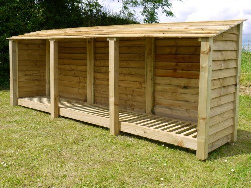 TRIPLE BAY 11ft WIDE X 4ft HIGH WOODEN LOG STORE/GARDEN STORAGE, GREEN, HEAVY DUTY, HAND MADE, PRESSURE TREATED, NATIONWIDE DELIVERY. by Rutland County Garden Furniture, http://www.amazon.co.uk/dp/B00DJUBF2U/ref=cm_sw_r_pi_dp_PGqhsb1BWVT11