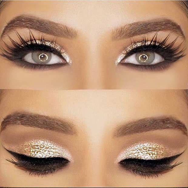 11. Pink Glitter Eyes + Pink Lips Glitter can be a girl's best friend, especially on her wedding day. Glitter on your eyes, as well as your lips, will definitel