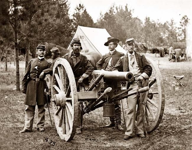 You are viewing an impressive image of Fair Oaks, Virginia,vicinity.  Lieutenant Robert Clarke, Captain John C. Tidball, Lieutenant William N. Dennison, and Captain Alexander C.M. Pennington.  It was taken in 1862 by Gibson, James F., b. 1828.: Civil Wars, American Civil War, Guerra Civil Americana, Civilwar, Lessons Plans, Civil War Photo, Old Pictures, The Civil War, United States