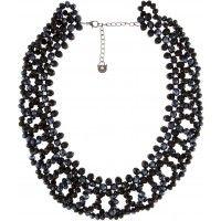 Plastron noir à perles