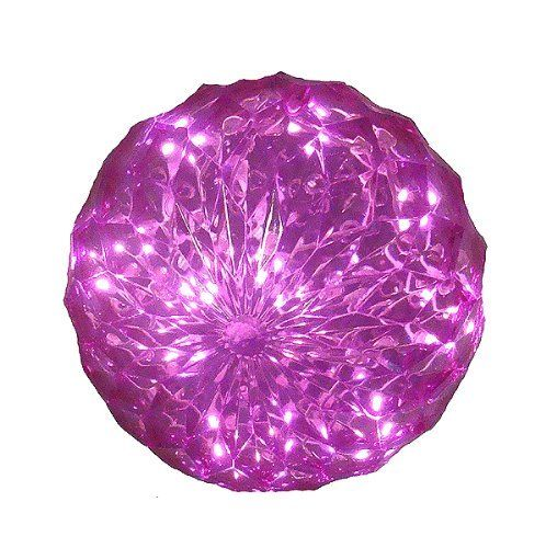 """Pink LED Lighted Hanging Christmas Crystal Sphere Ball Outdoor Decoration 6"""" by Penn. $14.99. Festive Pink LED Lighted Sphere Item #52-778-066 Product Features: Number of bulbs inside sphere: 20 Bulb color: pink Bulb size: wide angle UL listed for indoor/outdoor use 120 volts, 60 hertz, .02 amps, 2.4 watts 24 inch white lead cord contains 1 plug with end connector allowing you to stack multiple lighted items together (not to exceed 210 watts) Contains 2 spare bul..."""