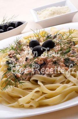 Photo de la recette Tagliatelle au saumon et aux olives