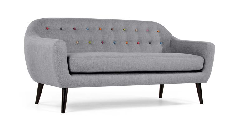 Ritchie 3-Seater Sofa, Pearl Grey with Rainbow Buttons