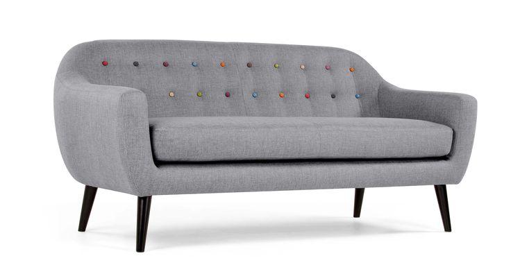 Ritchie 3-Sitzer-Sofa, Perlgrau mit bunten Knöpfen