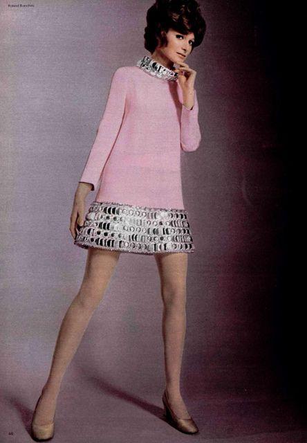 Pierre Cardin mod mini dress with silver bling