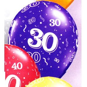 "30th Latex Balloons. 12"" size latex balloons with a 30 all around print. Come in assorted Jewel tone colours of Quartz Purple, Sapphire Blue, Ruby Red, Jewel Magenta, Emerald Green and Citrine Yellow (Sold assorted).Fill these balloons with helium and weight them in clusters around the room or in table centrepieces to create exciting decorations. Filled to the proper size, these balloons will float for 18-24 hours or if ""treated"" with Hi-Float balloon treatment, they will float for several…"