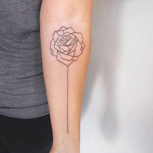 Geometric rose tattoo on forearm by Jessica Channer                                                                                                                                                     More