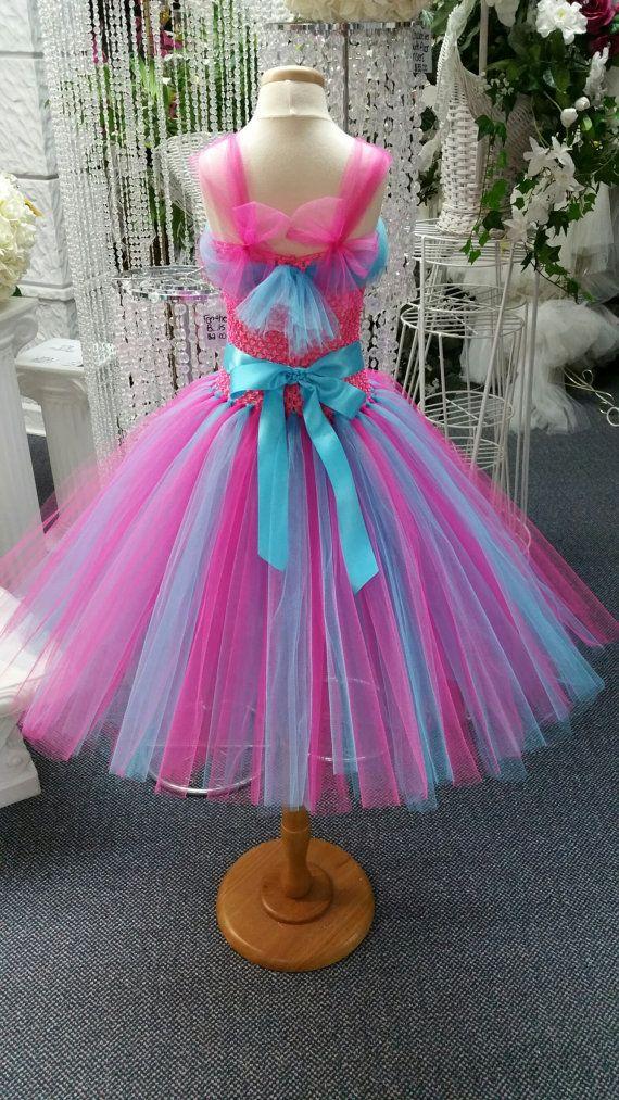 Prinses stijl Fuchsia/Turquoise Tutu jurk van LuxxCouture op Etsy