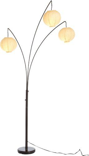 Adesso 4101-26 Spheres Arc 3-Light Floor Lamp with Rice-Paper Shades, Antique Bronze
