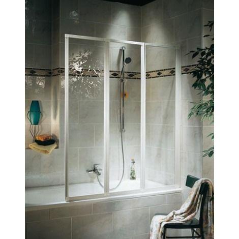 Ecran de baignoire - 3 volets - 126,8 x 120 cm - verre transparent - profilés…