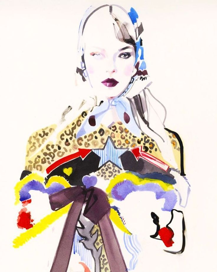 New illustration of a design by Mary Katrantzou, commissioned by the British Fashion Council who are hosting The British Fashion Awards tonight. London is getting red carpet ready.....