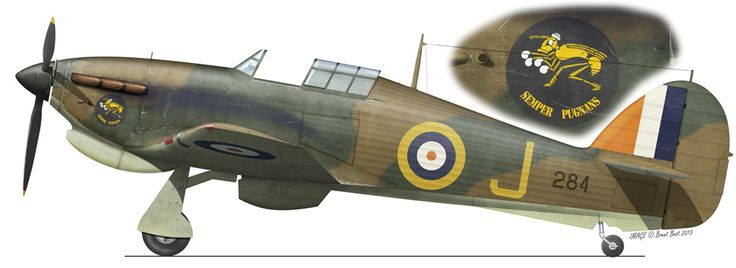 Hurricane Mk 1 284-J No 3 Sqn S.A.A.F. Ethiopia N.Africa March 1941