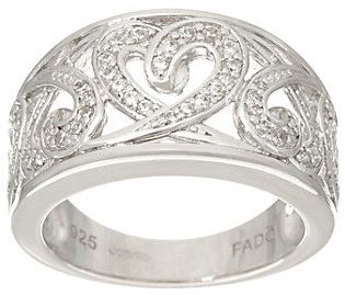 As Is Fado Sterling Silver Celtic Hearts Band Ring