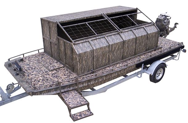 The Gator Camp boat built by Gator Trax Boats is much more than a floating duck blind. This is a floating camp.