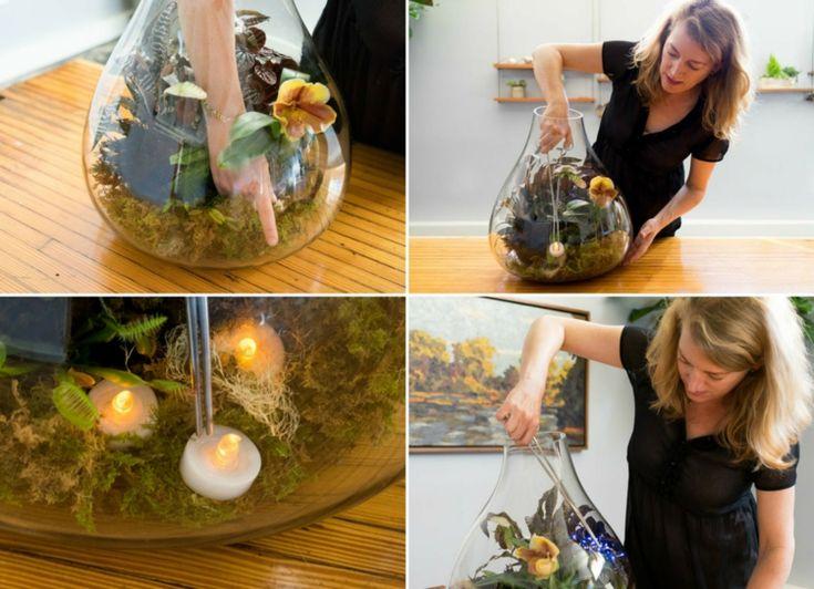halloween pflanzen terrarium led kerzen lichterkette batterie zangen