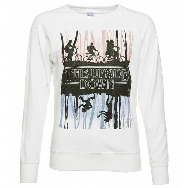 Women's Stranger Things Inspired Upside Down Jumper ($36) ❤ liked on Polyvore featuring tops, sweaters, jumpers sweaters, jumper top, white top, white sweater and white jumper