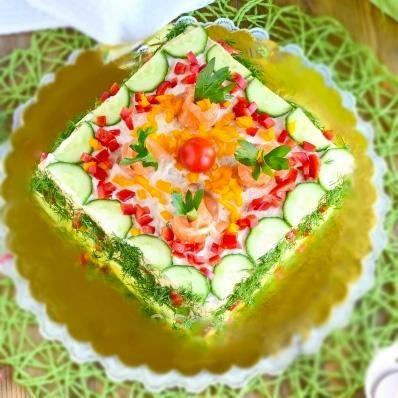 Бутербродный торт Праздничный