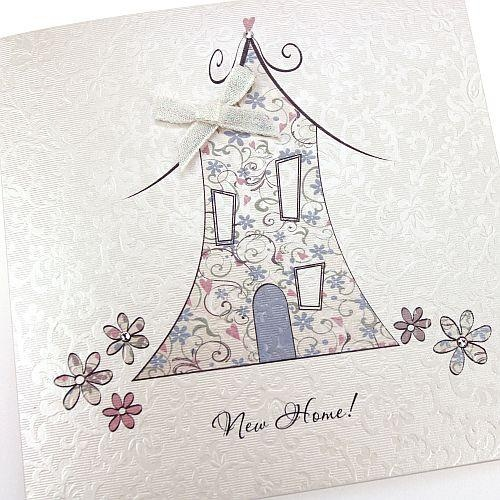 Handmade New Home Card Crystals Bow Floral Pattern