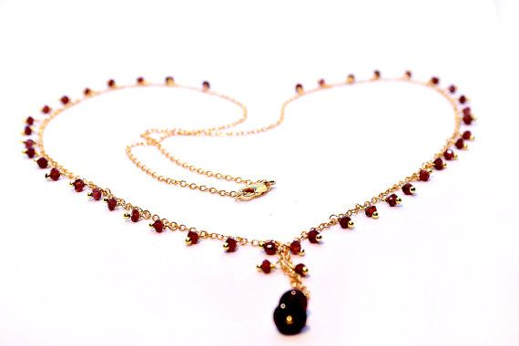 Gemstone Lariat Necklace Garnet Necklace Bridal by Femalehappiness