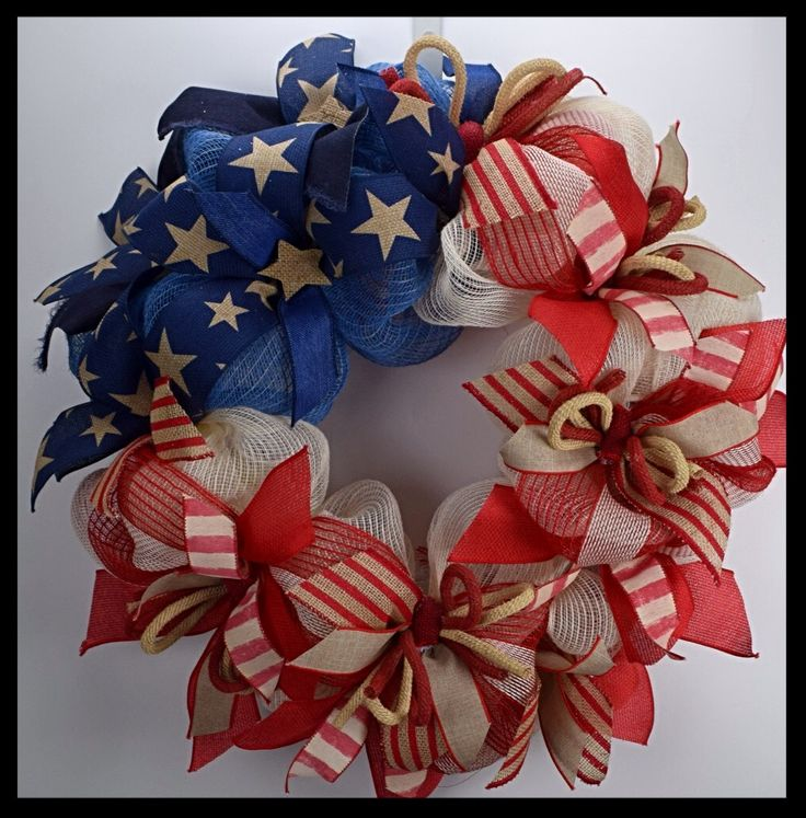 Beautiful Burlap Flag Patriotic Wreath from www.facebook.com/overthetopwreaths