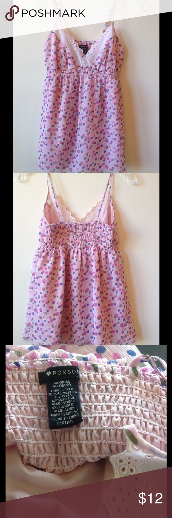 Pink Cami Top With Polka Dots - Size M Elastic under bodice with spaghetti straps, this top has a lining. Ronson Tops Camisoles