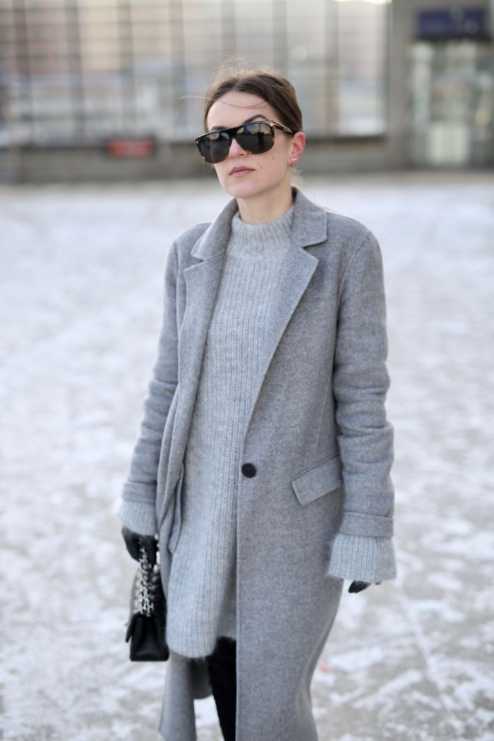 Winter mood - grauer Pullover und grauer Mantel - Shoppisticated