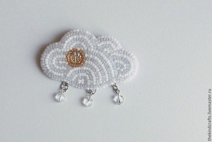 Купить Облачко - белый, бисер, облачко, стильная брошь, brooch, cloud, чешский бисер