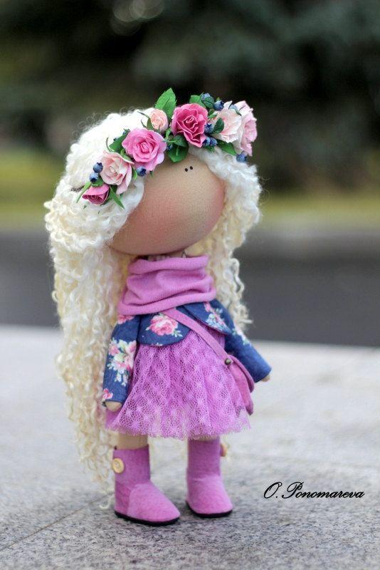 Textile doll Fabric doll Tilda doll violet by AnnKirillartPlace
