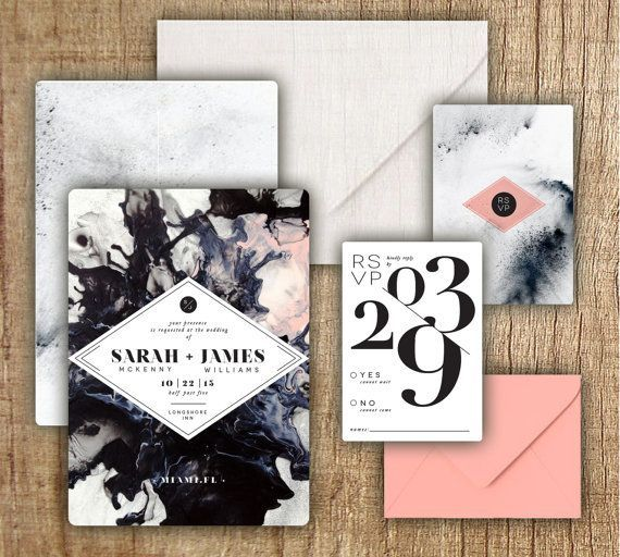 Beautiful and moody black and pink wedding invitations suite.