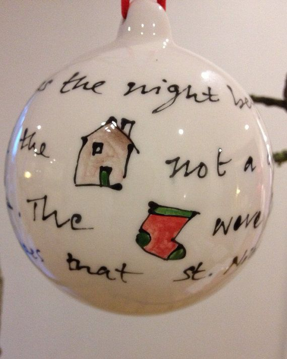Hand painted ceramic bauble / decoration - 'twas the night before Christmas on Etsy, £15.00